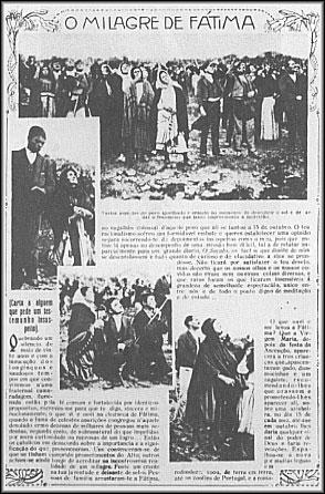 """Kopie einer Seite aus """"Ilustracao Portugueza"""" vom 29. Oktober 1917. Die Menge betrachtet das Sonnenwunder während der Fátima-Erscheinung"""